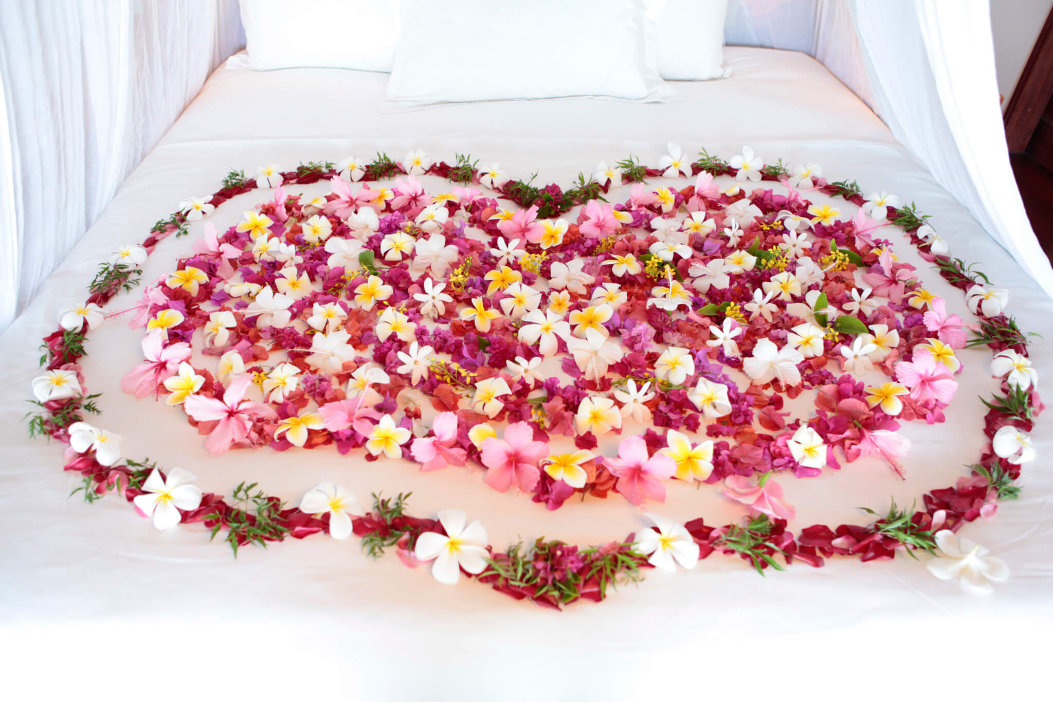 Bed full of flower in the Islands of Tahiti